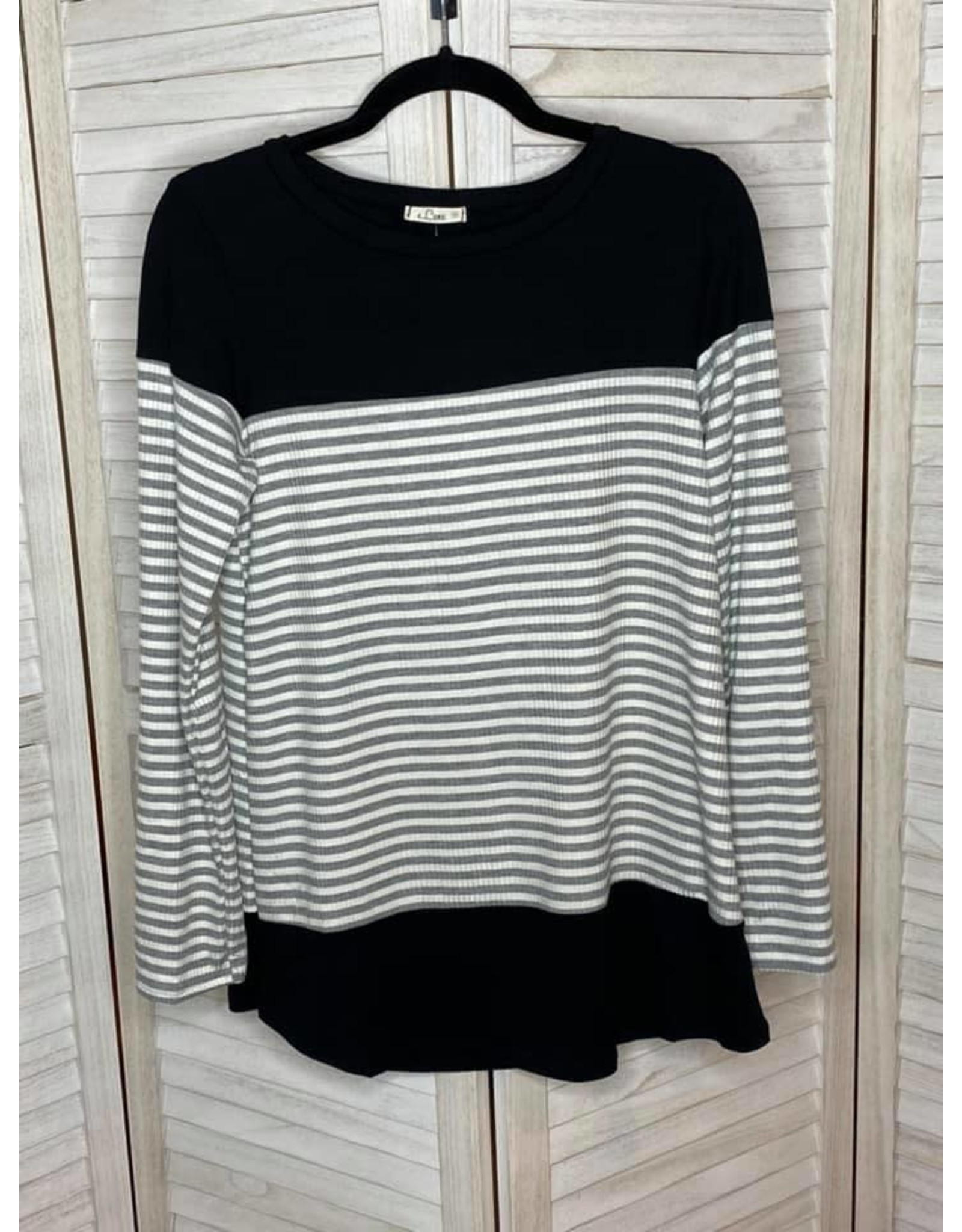 e. Luna Solid and Ribbed Stripe Round Neck Long Sleeve Top