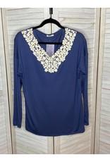 e. Luna Solid Jersey V Neck With Floral Crochet At Neck