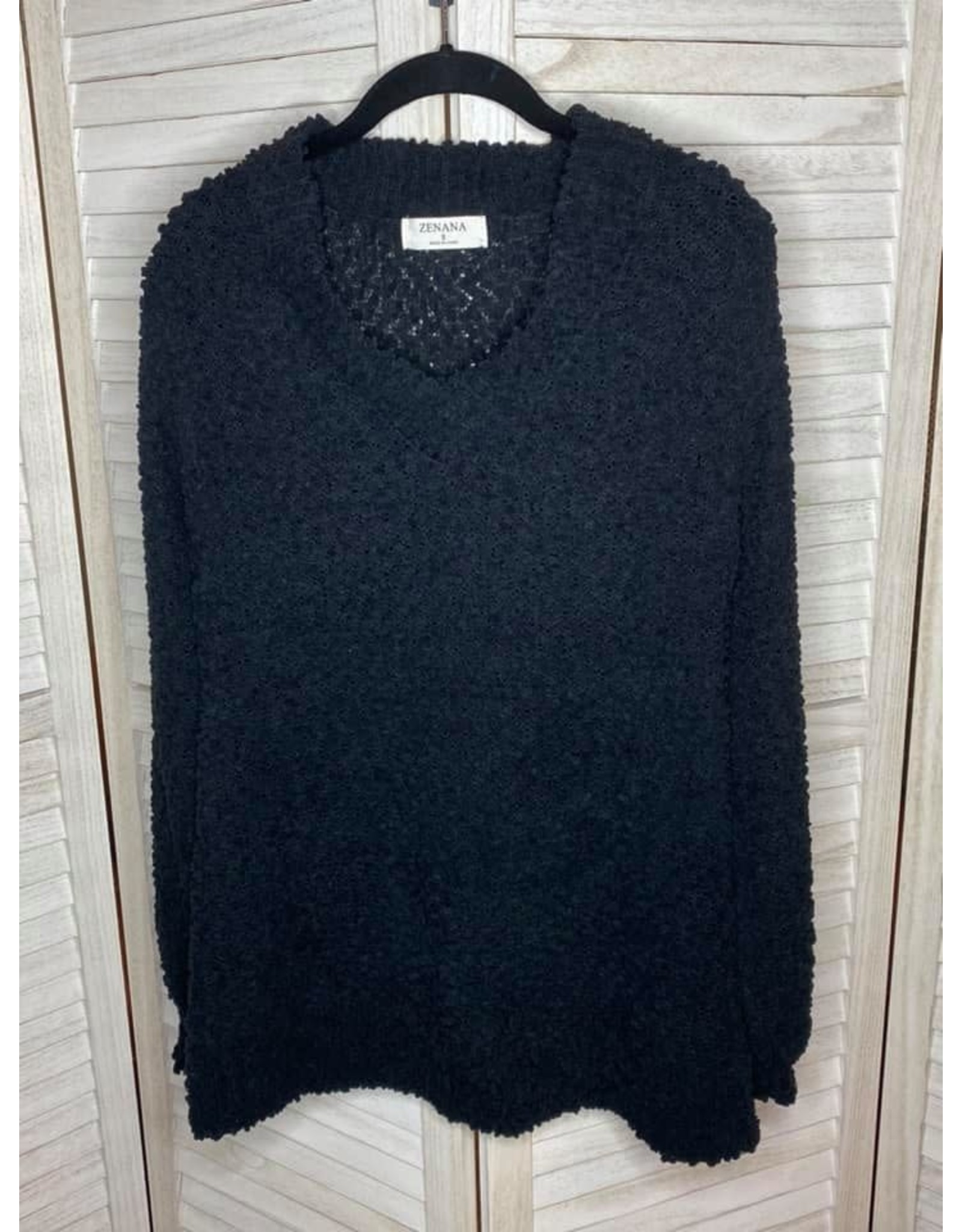 Zenana Popcorn Balloon Sleeve V Neck Sweater Black