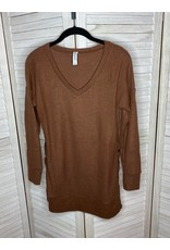 Zenana V Neck Thermal Weave Long Sleeve Tunic Light Brown with Side Buttons