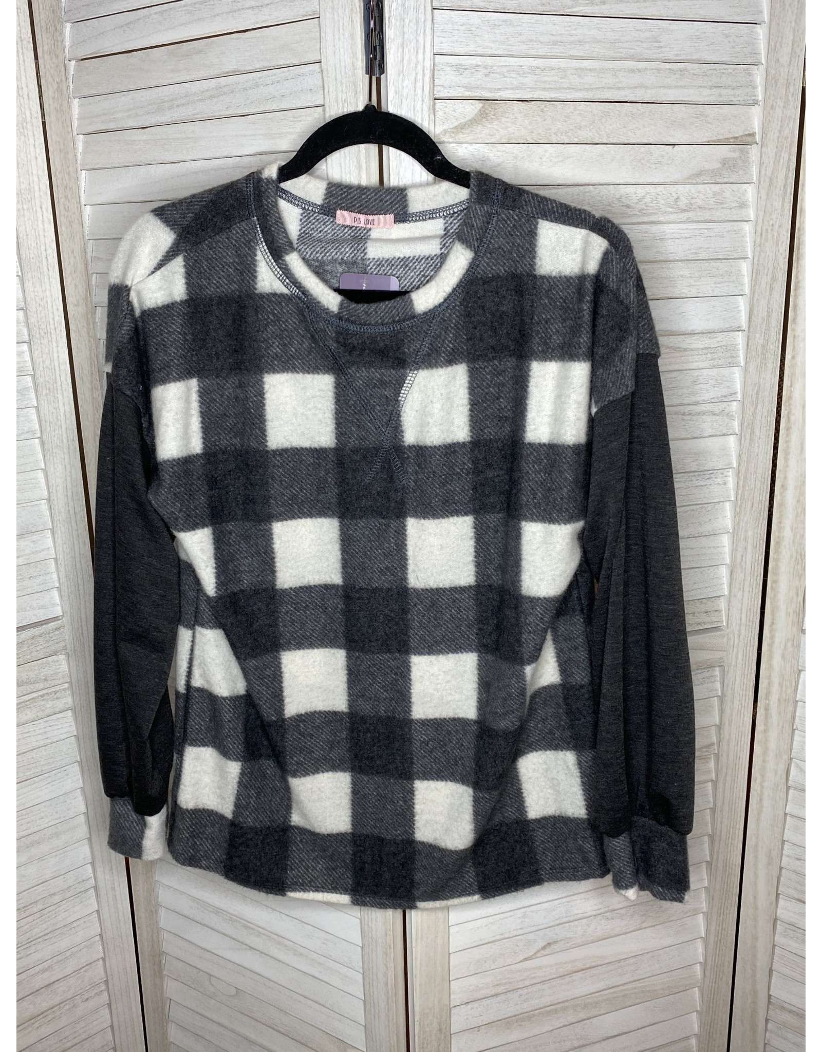 PS Kate Buffalo Plaid Pullover Black White