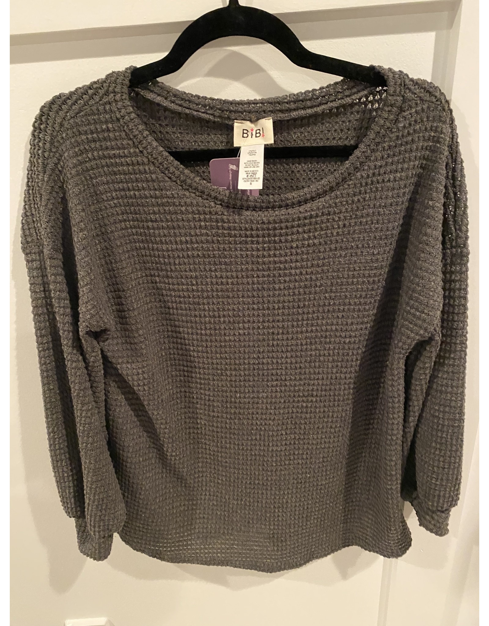 Macaron Popcorn Waffle Knit Top With Balloon Sleeves Charcoal