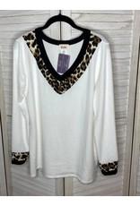 BiBi Brushed Knit with Animal Detail V Neck