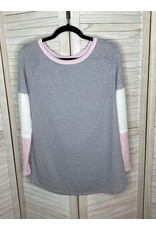 First Love Color Block Long Sleeve Top Pink Gray
