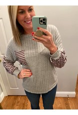 Hoptics Rib And Stripe Color Block Banded Bubble Sleeve Top With Pocket