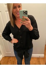Oddi Button Down Long Sleeve Cardigan with Front or Back Tie  Black