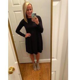 Zenana Long Sleeve Flare Dress Black