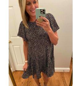 Gigio Leopard Print Insert Hem Dress With Flutter Sleeves