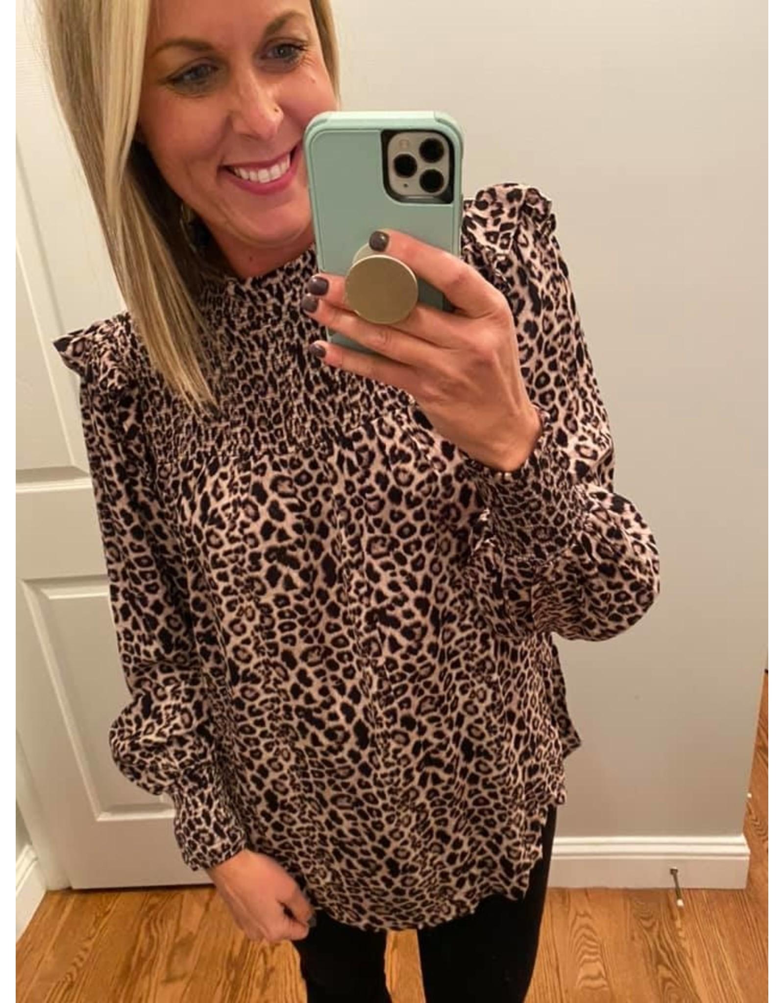 Kori America Leopard Smocked Blouse