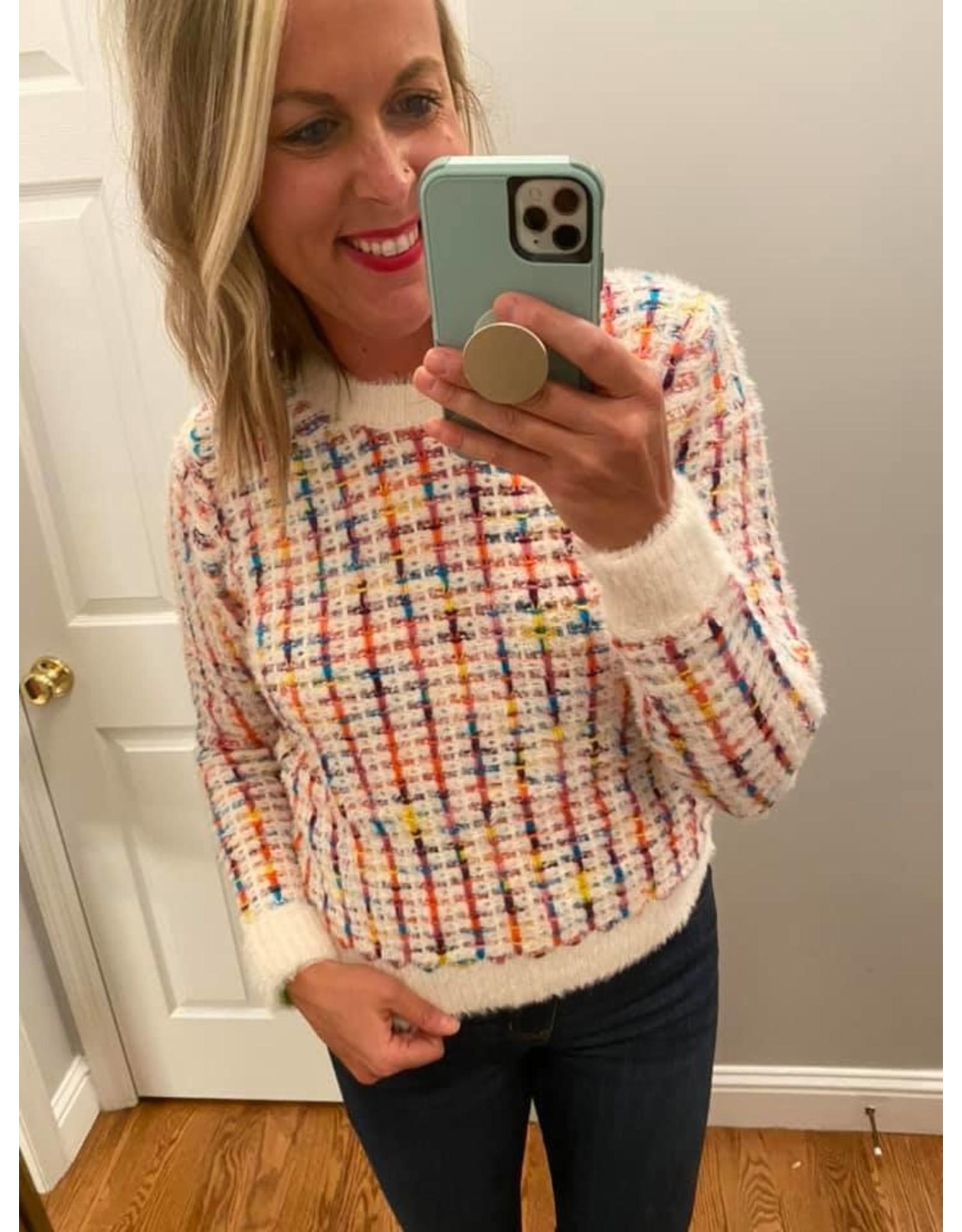 trend notes Multi Rainbow Fuzzy Sweater