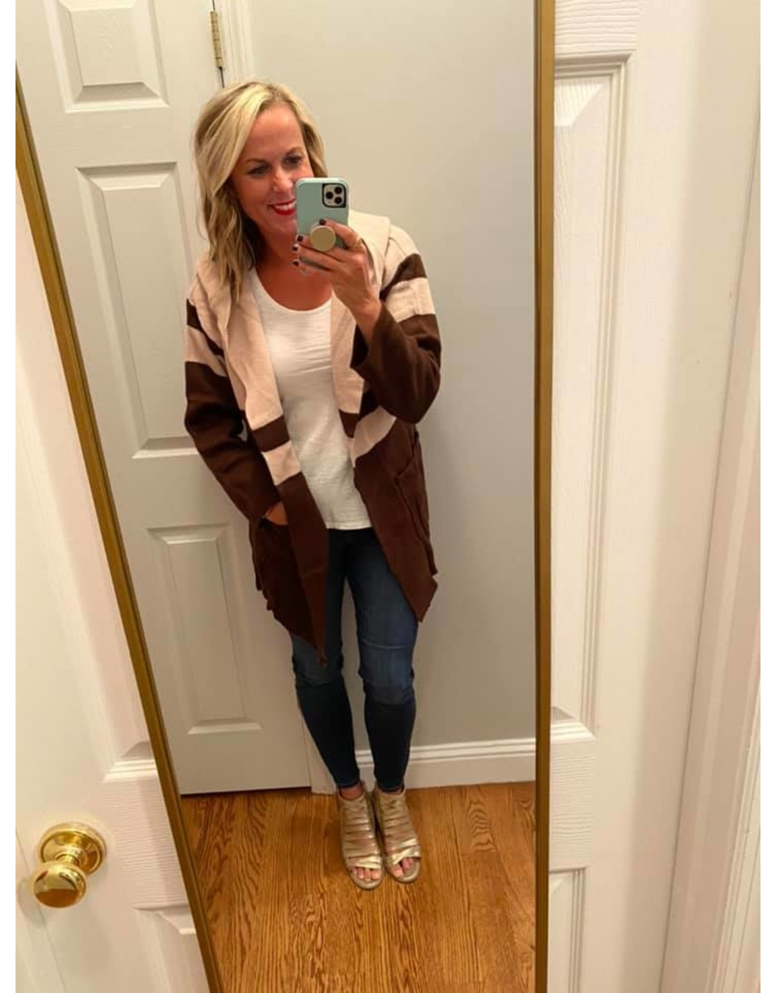 Umgee Long Sleeve Colorblocked Open Front Hooded Cardigan Mauve Mix