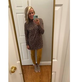 Ces Femme Taupe Leopard Long Sleeve Top with Pocket