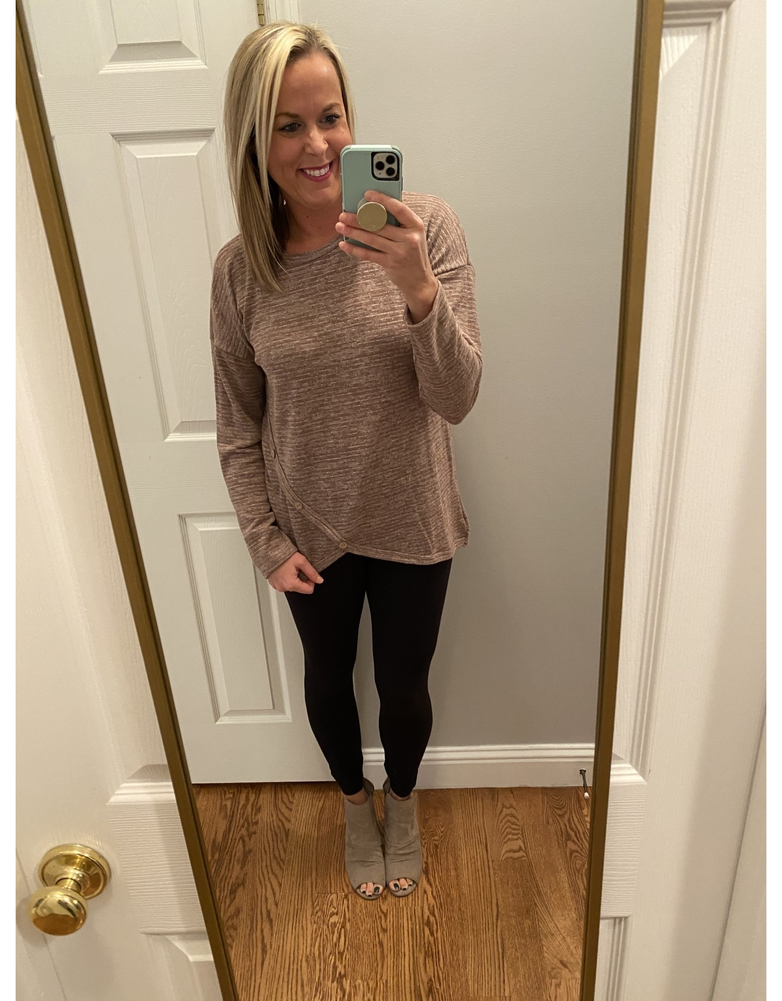 First Love Round Neck Long Sleeve Button Trim Mocha