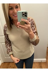 Shewin Waffle Knit V Neck Animal Print Sleeve Taupe Brown