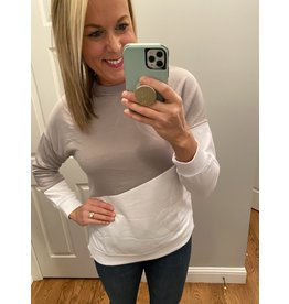 Shewin Color Block Long Sleeve  Gray White