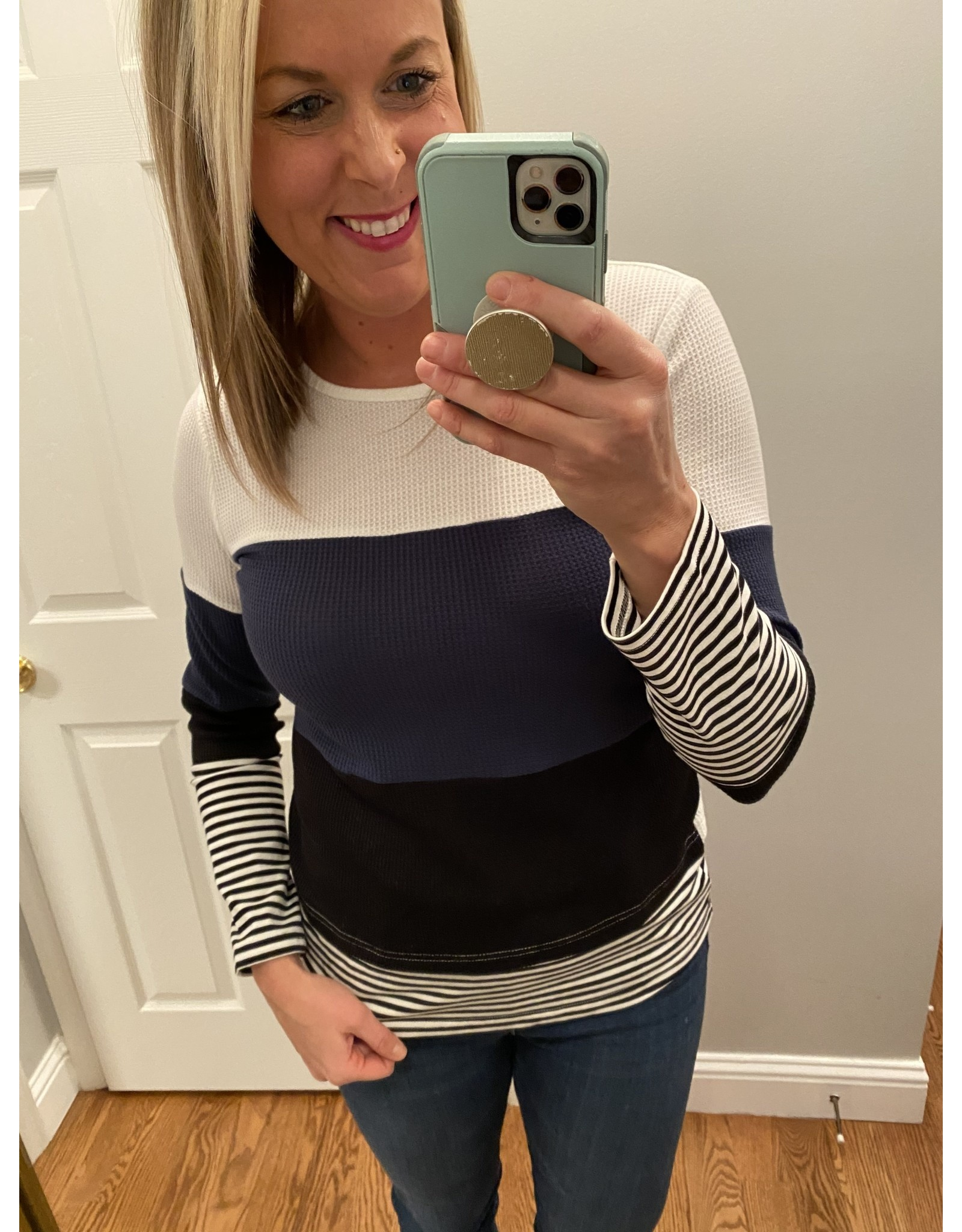 Shewin Color Block and Striped Long Sleeve Blue Black