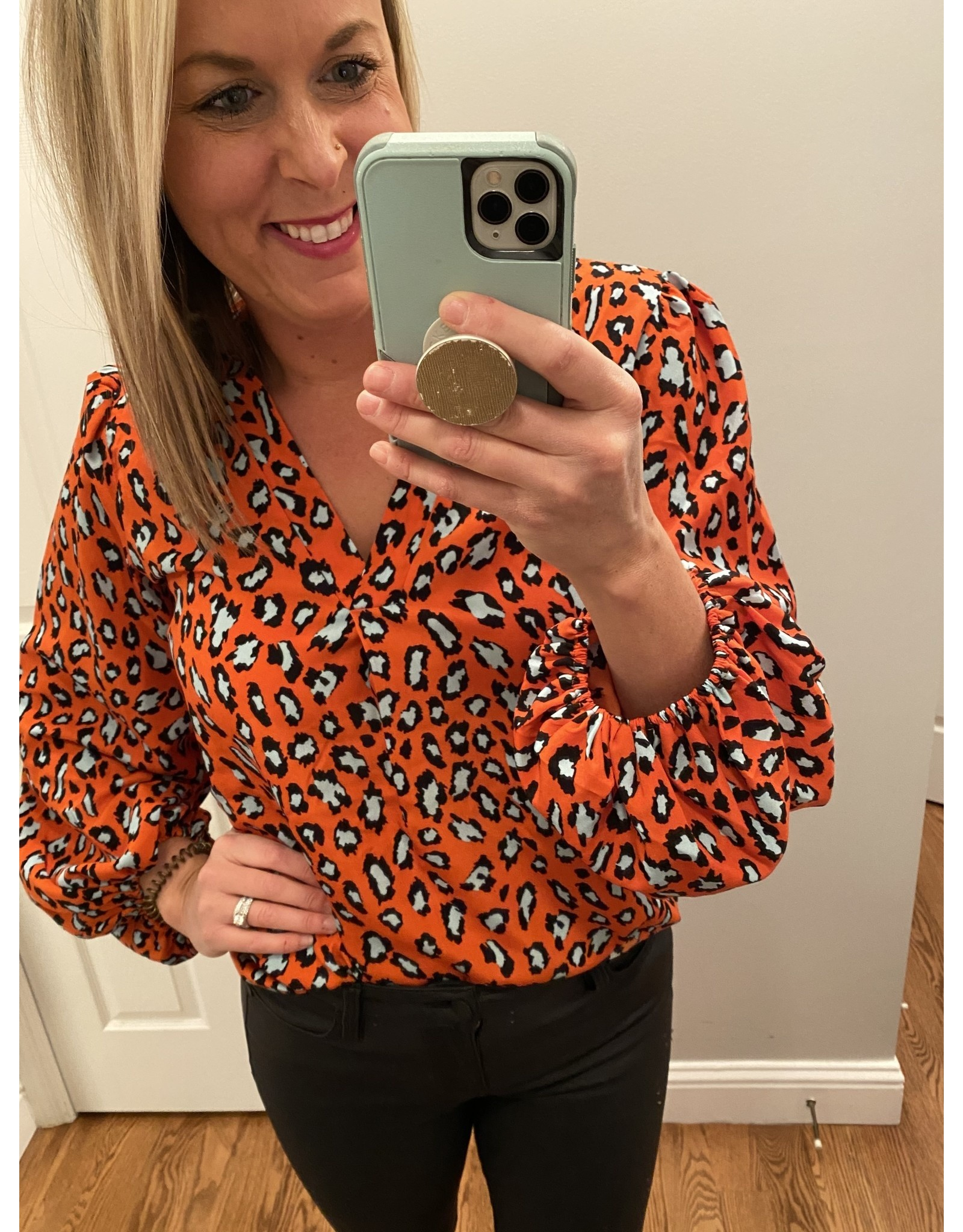 Shewin Orange animal print tunic