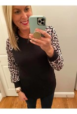 Lily Clothing Black Top With Animal Print Sleeves