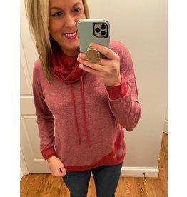 My Story Cowl Neck Drawstring colorblock sweatshirt