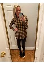 Bom Bom Checked Long Sleeve Tunic Top Taupe