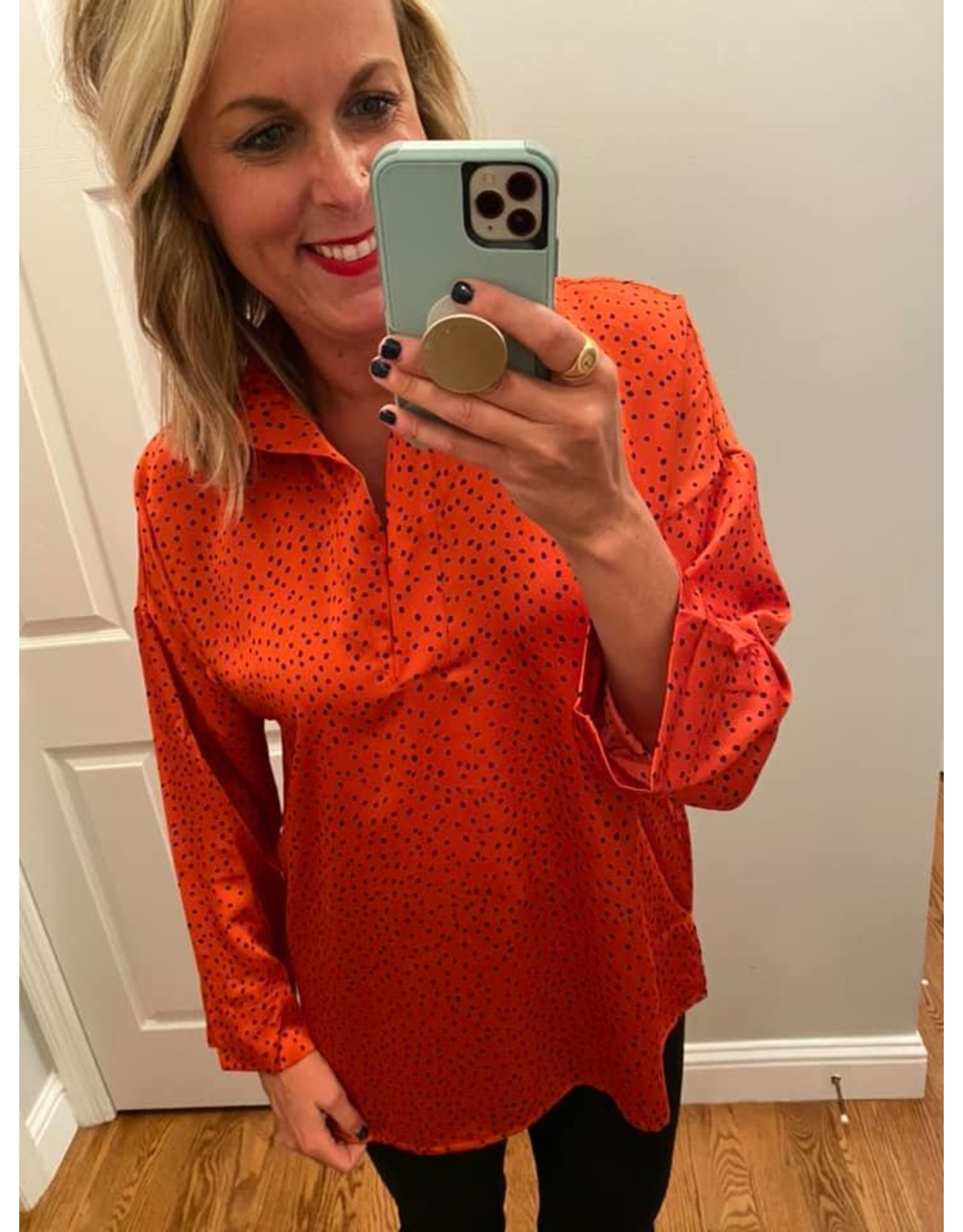 Umgee Oversized Polka Dot Collar Top with Side Slit - Sunset