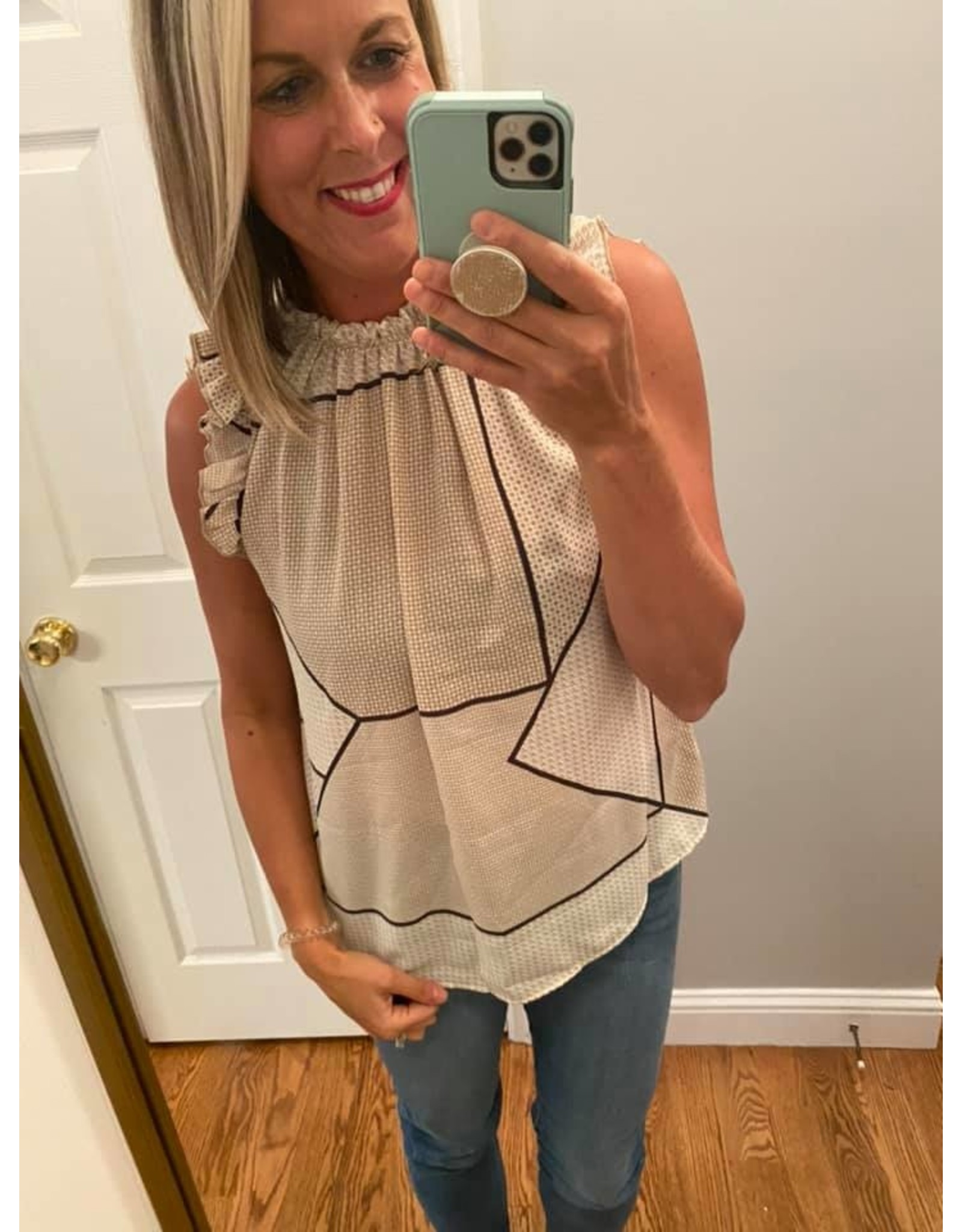 Ces Femme Sleeveless Ruffle Neck and Sleeve Top  Tan with Black Geo Stripe