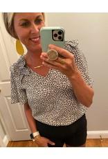 Jodifl Leopard Print Top with V-Neck Ruffle Shoulder Short Bell Sleeve