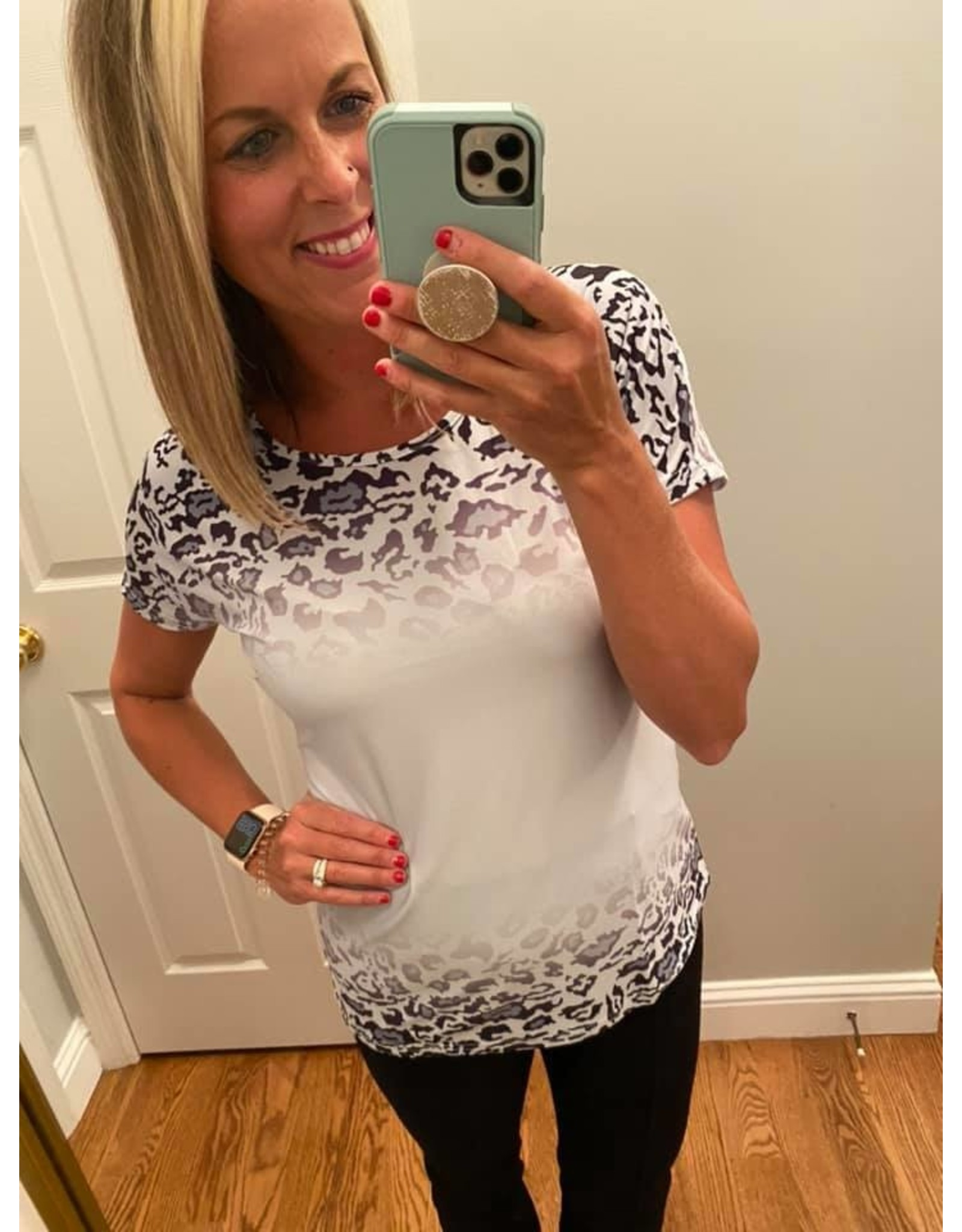 Esley Collection Leopard Print Short Sleeve Top with Color Block - Silver
