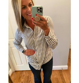 Hayden Blue Stripe Button Down Twist Top