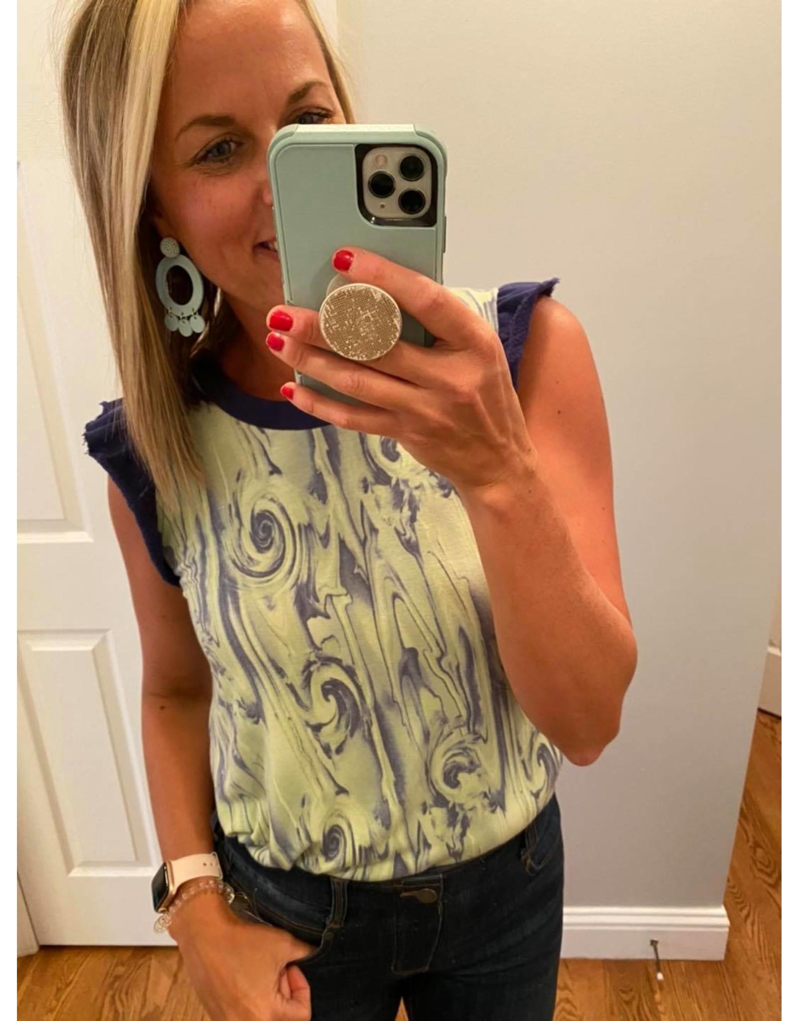 Ces Femme Ces Femme Sage/blue sleeveless w/ruffle at sleeve
