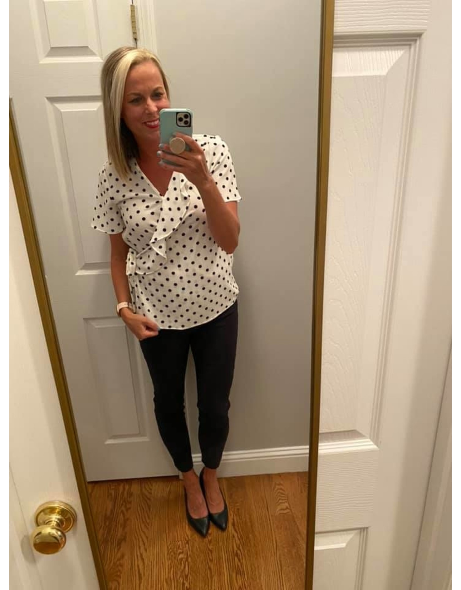 Lime n Chili Polka Dot Bubble Crepe Tie Front Top