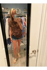 Jodifl Leopard Print Short Sleeve Top with Knot Front - Plus