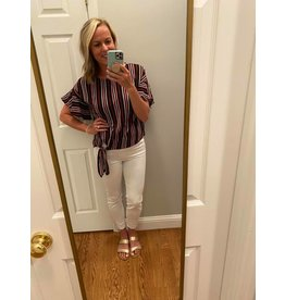 Olive and Leaf Black Red and White Stripe Top with Tie Knot Front