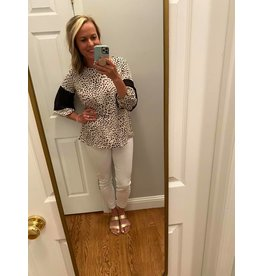 Olive and Leaf Animal Print with Lace Block Long Sleeve Top