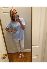 Macaron Light Blue Tunic with Puffed Elastic Band Sleeves