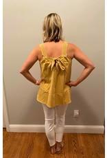Gigio Golden Square Neck Crochet Tank with Tie Back