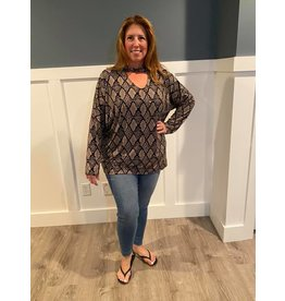 American Chic Lightweight Long Sleeve Choker Tunic - Snakeskin