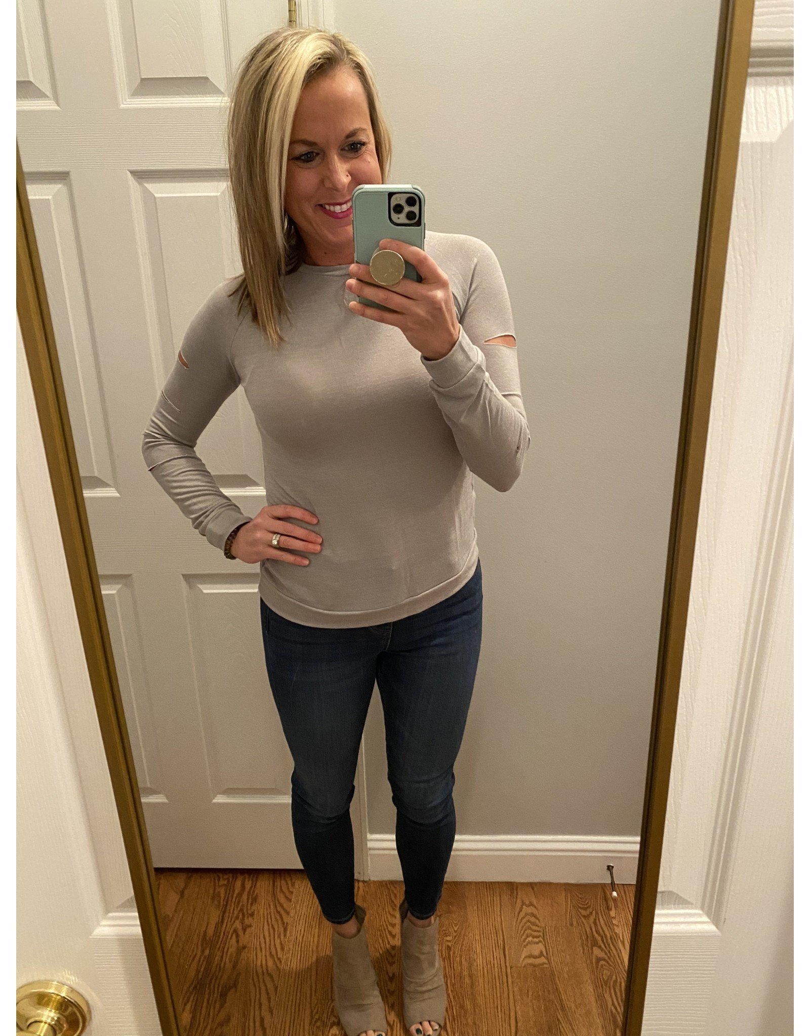 Adele B. Cut Out Long Sleeve Top Gray