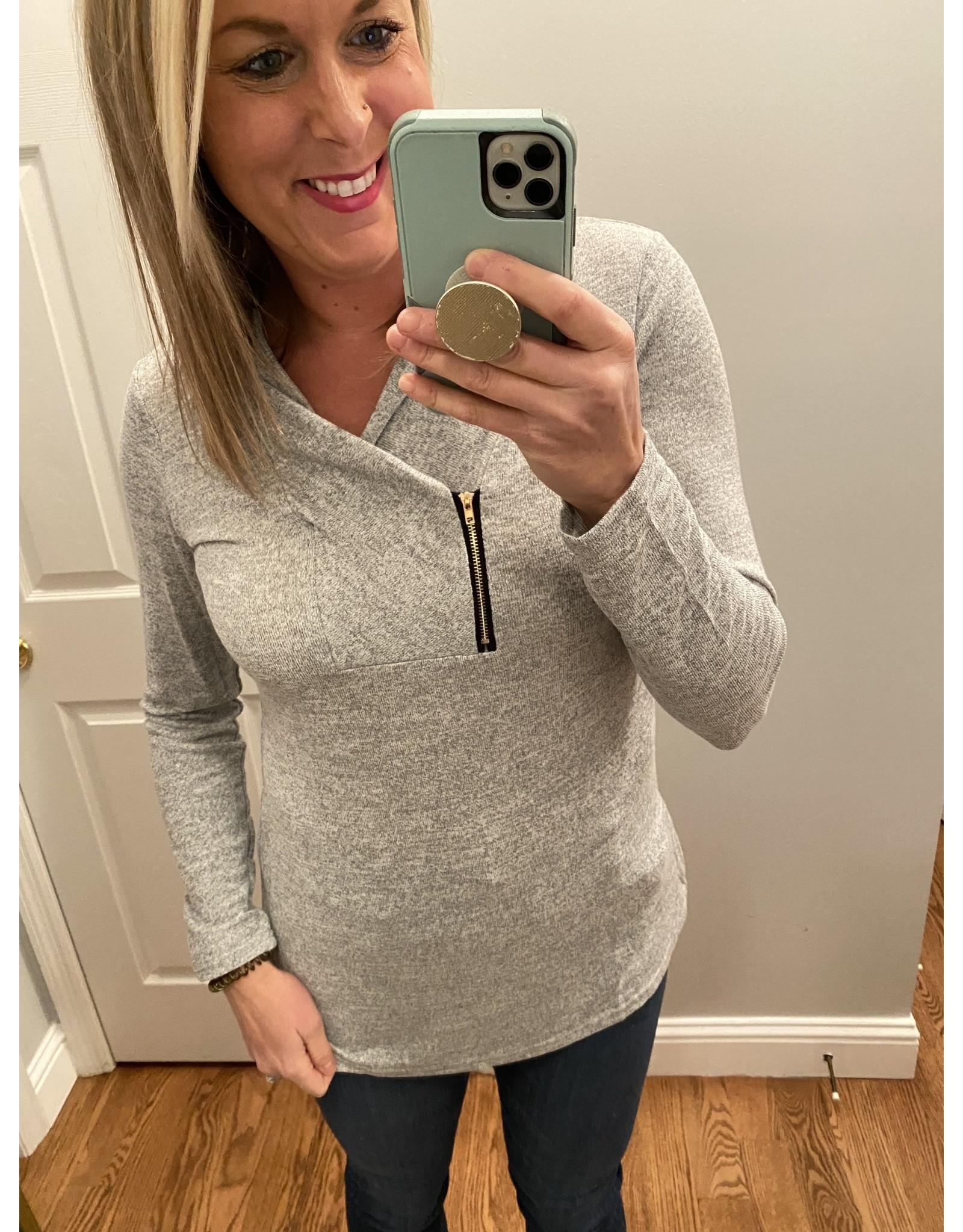 Adele B. Long Sleeve With Zipper Accent Grey