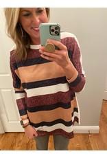 Shewin Stripe Design Round Neck Long Sleeve Top