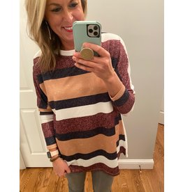 Shewin Stripe Design Round Neck Long Sleeve Top