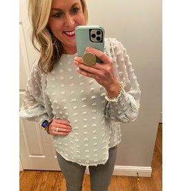 Vine & Love Pom Pom Dotted Fabric Top - Mint
