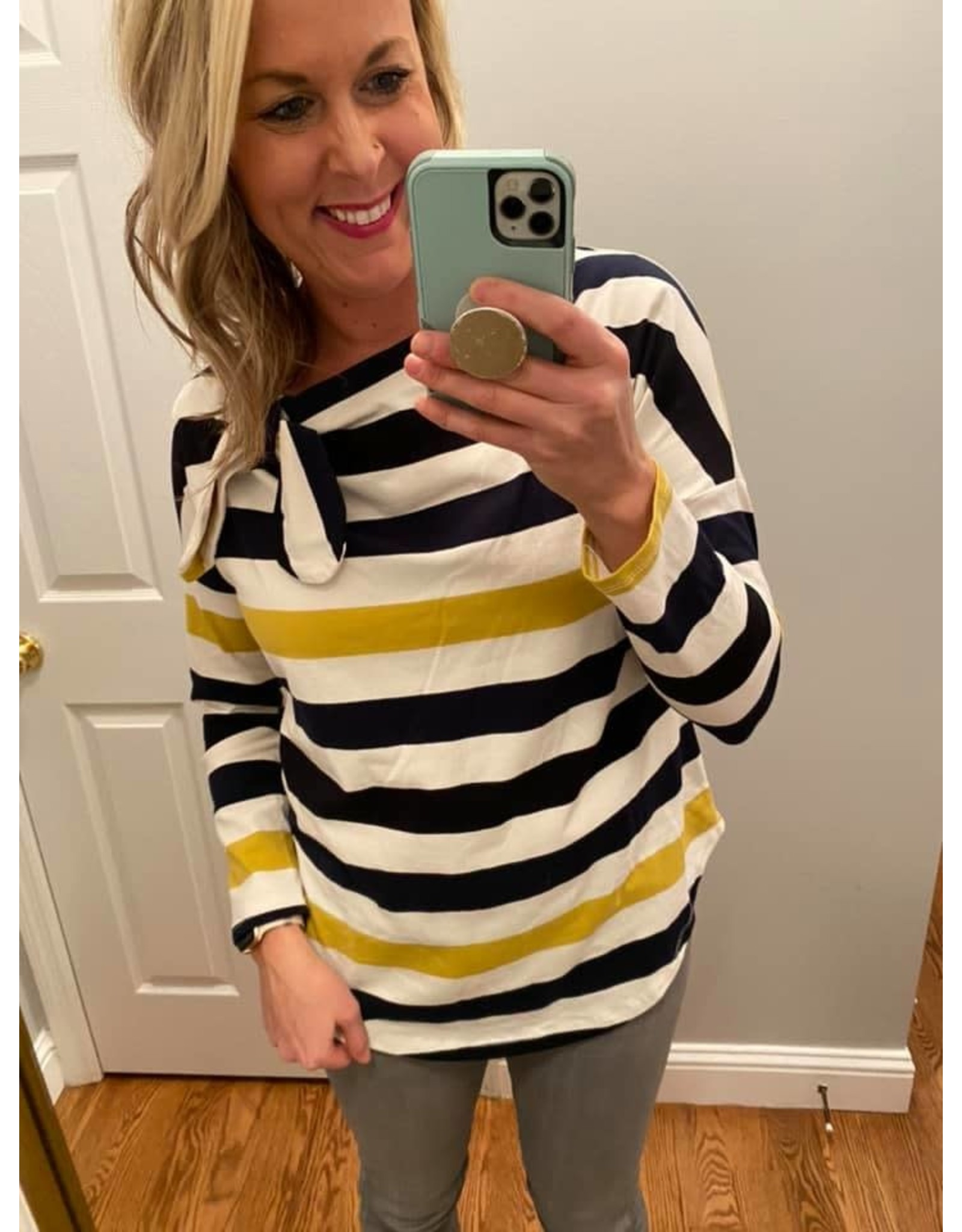 Self Crush Stripe Boat Neck With Side Tie Navy