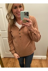 Adele B. Three Button Hoodie Camel