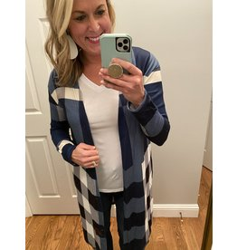 Adele B. Plaid Long Cardigan Navy