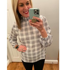 Solution Smocked High Neck  Plaid Bishop Seeve Top Black White