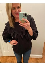 Shewin Long Sleeve Blouse with Ruffle Detail