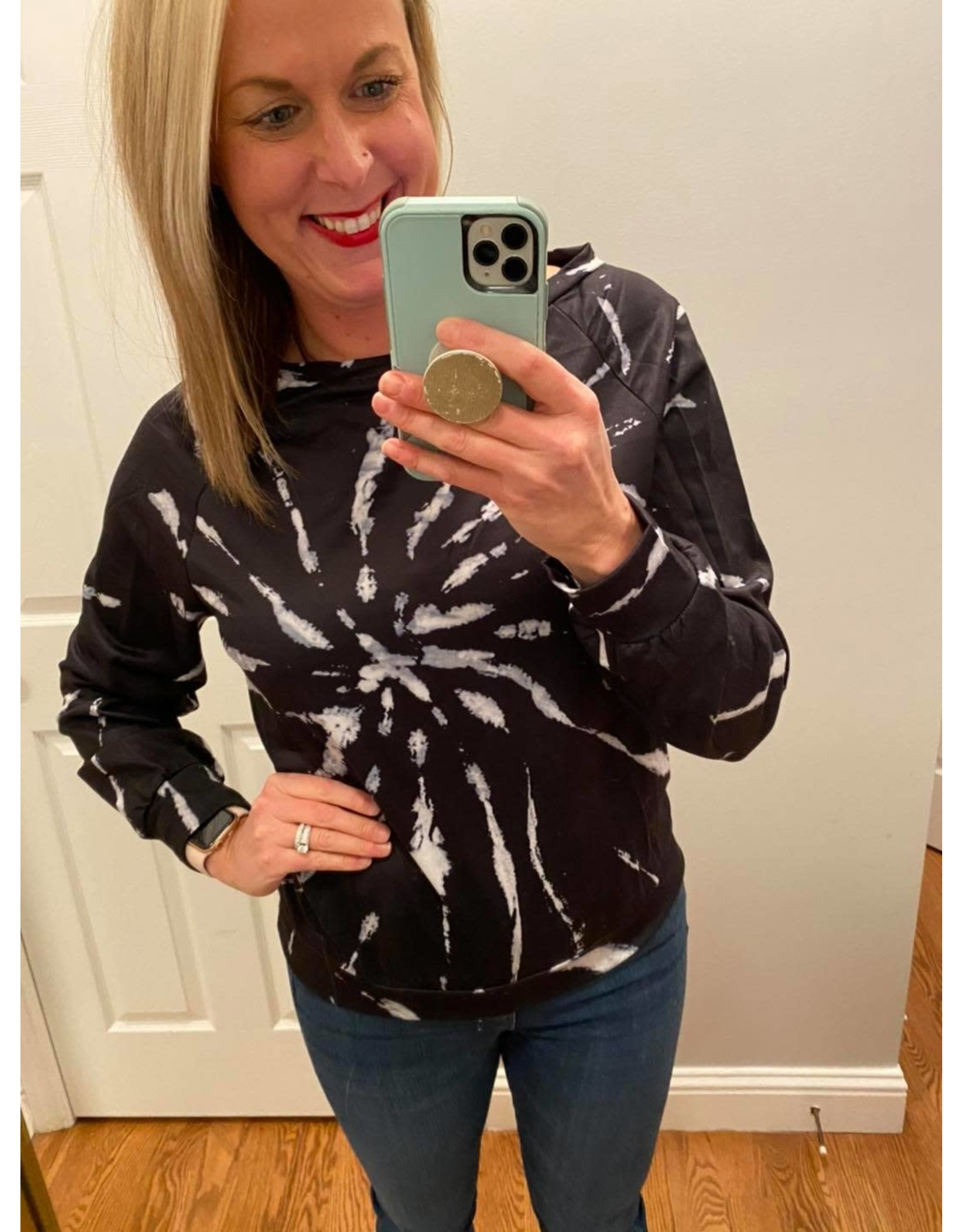 Shewin Tie Dye Pull Over Black White