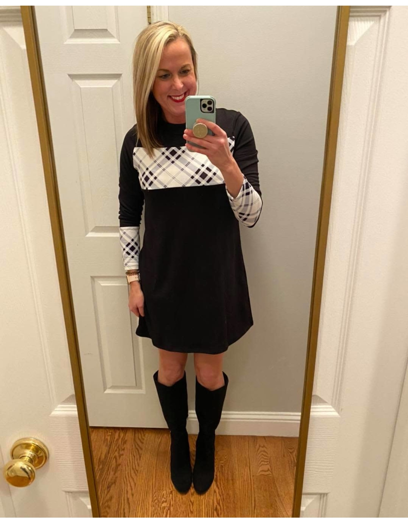 Shewin Long Sleeve Black Dress With Plaid Inset
