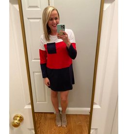 Shewin Color Block Long Sleeve Red White Blue Dress